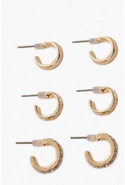 Womens Gold 3 Pack Textured & Diamante Huggie Hoops