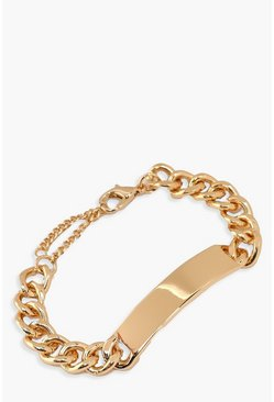 Womens Gold Chunky Chain & Bar Bracelet