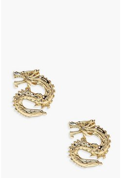 Womens Gold Dragon Stud Earring