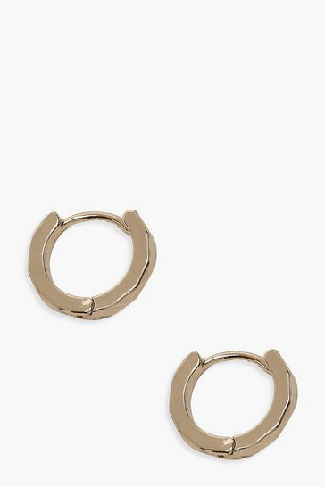 Womens Gold Plain Huggie Hoop Earrings