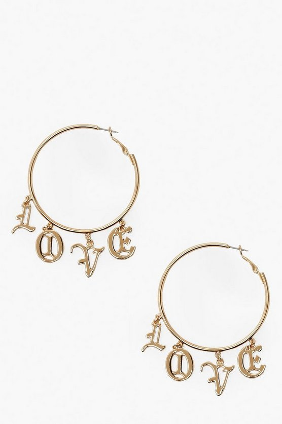 Love Slogan Hoop Earrings