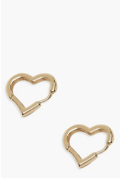 Gold Plain Heart Huggie Earrings