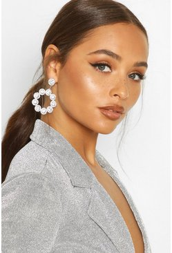 Silver Diamante & Gem Circle Statement Earring