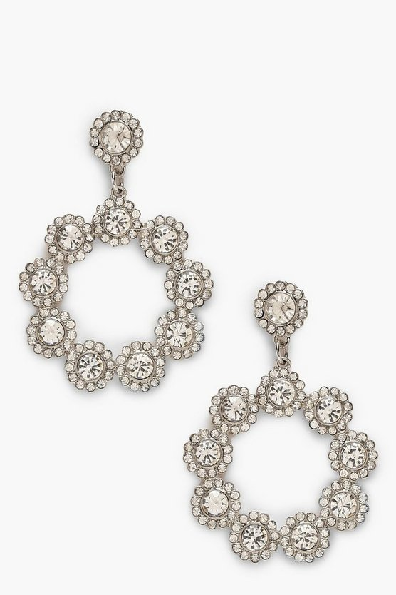 Diamante & Gem Circle Statement Earring