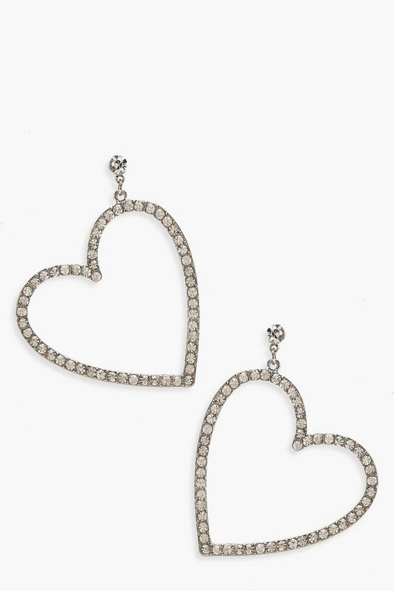 Diamante Heart Drop Statement Earrings