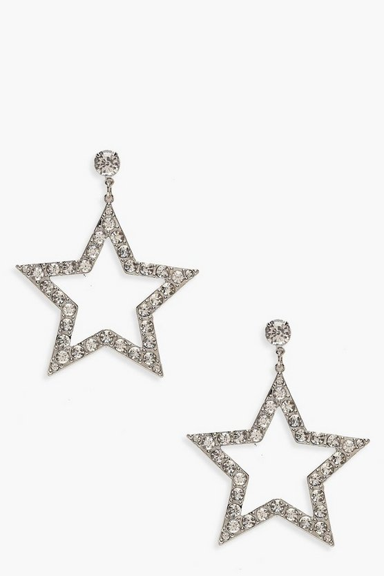 Diamante Star Drop Statement Earrings