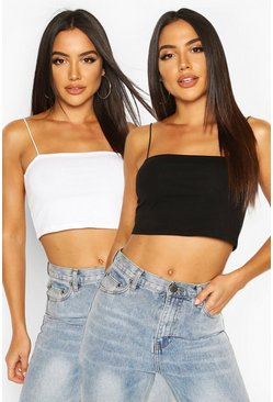 Spagetti Strap Cropped Vest Two Pack, Blackwhite