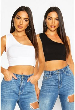 One-Shoulder Crop Top im Zweierpack, Blackwhite