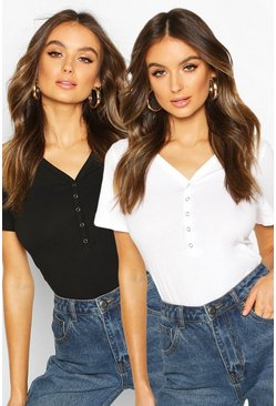 Blackwhite Button Up Cropped T-Shirt 2 pack