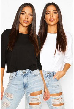 Boxy Crop T-shirt Two Pack, Blackwhite