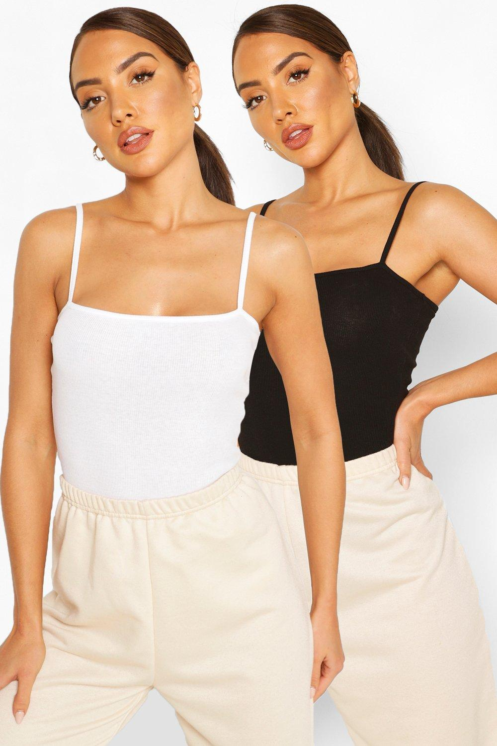 womens spagetti strap ribbed body two pack - black & white - 6