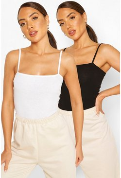 Spagetti Strap Ribbed Body Two Pack, Blackwhite