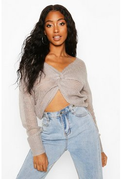 Grey Loose Knit Twist Cropped Sweater
