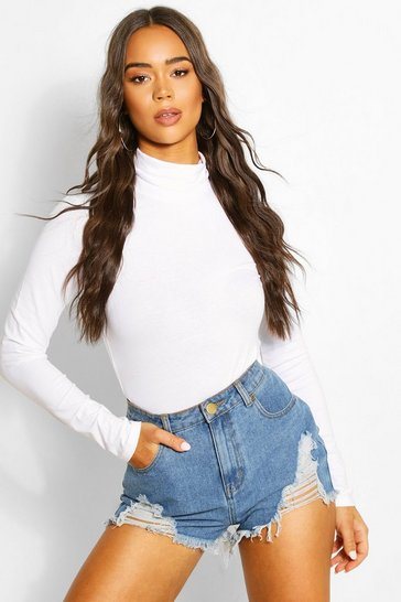 White Long Sleeve Polo Neck Body Top