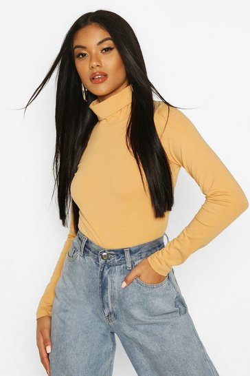 Nude Long Sleeved Roll Neck Top