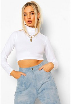 White High Neck Long Sleeve Crop