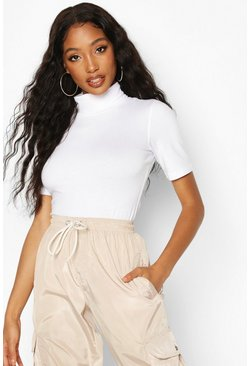 White Short Sleeved Roll Neck Top