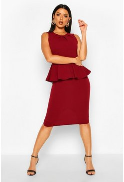 Womens Berry Peplum Sleeveless Midi Dress