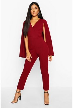 Berry Cape Detail Jumpsuit
