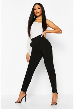 Womens Black Stretch Tapered Trouser