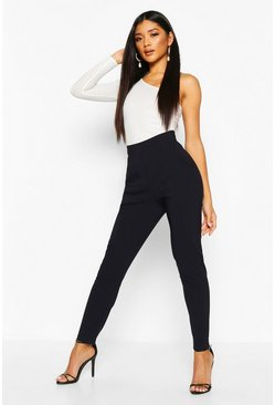 Womens Navy Stretch Tapered Trouser