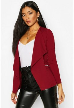 Womens Berry Zip Waterfall Blazer