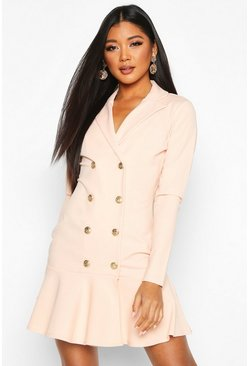 Womens Blush Frill Hem Double Breasted Blazer Dress