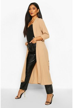 Womens Camel Collarless Duster