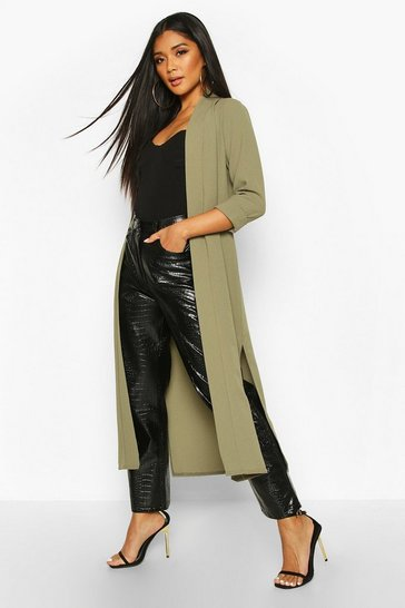Khaki Collarless Duster