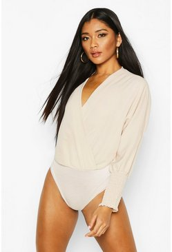 Womens Champagne Ruched Sleeve Wrap Bodysuit
