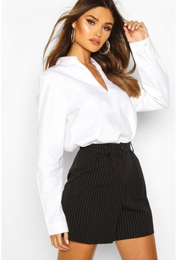 White Cotton V Neck Tailored Collared Blouse
