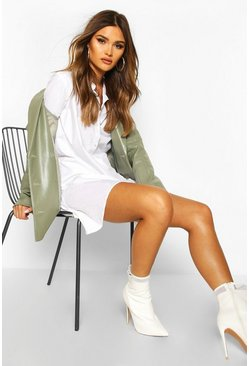 Womens White Cotton Ruffle Hem Shirt Dress