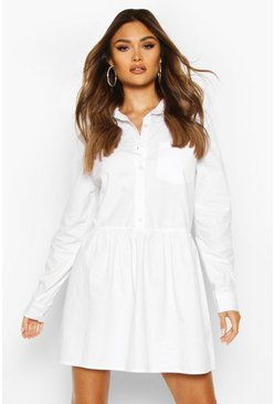 Womens White Cotton Skater Shirt Dress