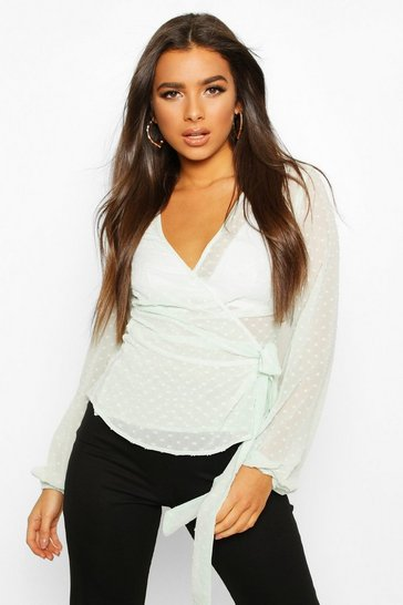 Sage Wrap Over Dobby Mesh Blouse