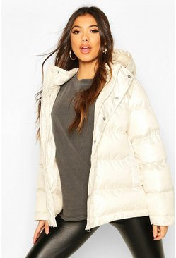 Ivory High Shine Oversized Hooded Puffer Jacket