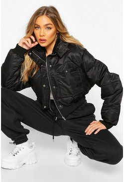 Black Cropped Double Pocket Puffer Jacket
