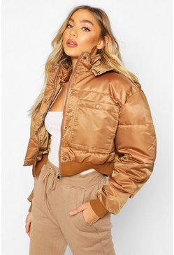 Mocha Cropped Double Pocket Puffer Jacket