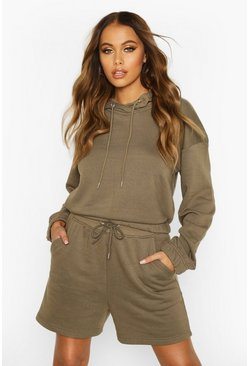 Womens Khaki Lounge Oversized Short