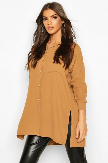 Womens Camel Woven Oversized Pocket Shirt