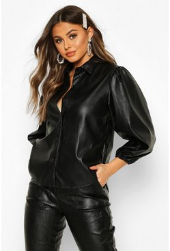 Black PU Extreme Puff Sleeve Shirt