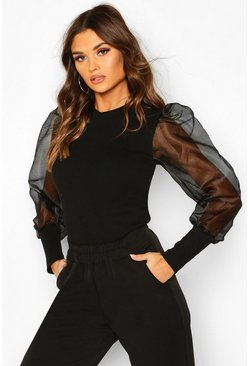 Womens Black Mesh Organza Puff Sleeve Top