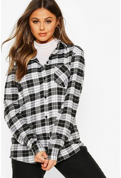 Womens Black Oversized Boyfriend Check Shirt