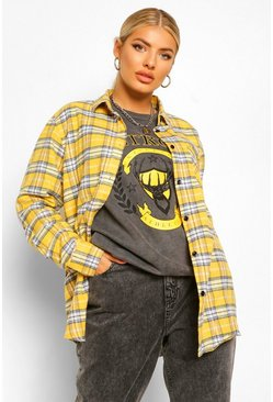 Yellow Oversized Boyfriend Check Shirt