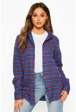 Womens Blue Oversized Boyfriend Check Shirt