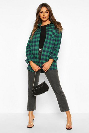 Womens Green Oversized Boyfriend Check Shirt