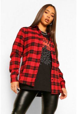 Womens Red Oversized Boyfriend Check Shirt
