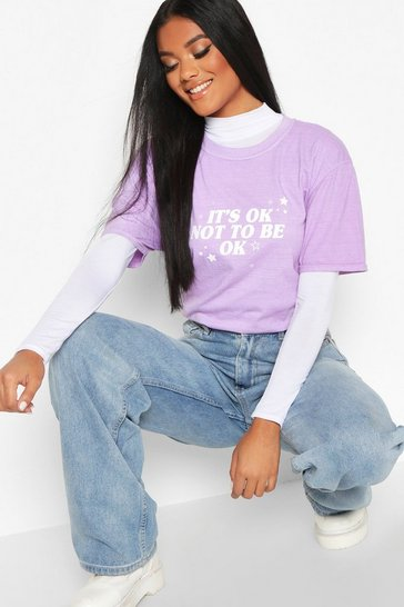 Womens Lilac It's Ok Not To Be Ok T-Shirt