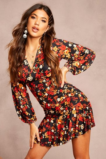 Black Recycled Floral Print Peplum Mini Dress