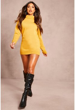 Recycled Roll Neck Jumper Dress, Mustard