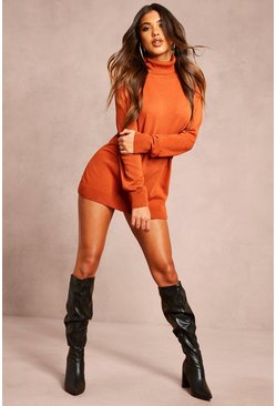 Rust Recycled Roll Neck Jumper Dress